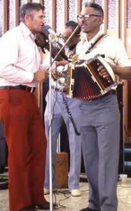 "Vinesse Lejeune on fiddle, Alphone ""Bois Sec"" Ardoin on accordion with Canray Fontenot in 1979"
