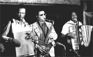 Clifton and Cleveland Chenier, John Hart on sax at Jay's Lounge, Cankton, LA, Mardi Gras 1975.